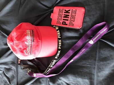 Pink Key Chain With Zip Holder, Pink Smithsonian Hat/ Stonehill College Chain Eu