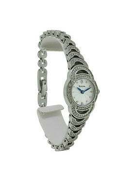Bulova 96L139 Women's Round Analog Silver Tone Crystal Stainless Steel Watch