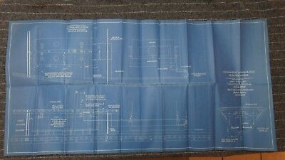 """Original 1908 Blueprint Drawing 20"""" x 40"""" - Tanks and Pipes Oil Fuel Str. Hyak"""