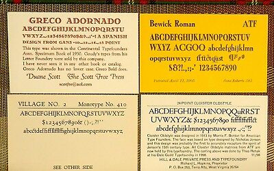 Letterpress Printing Type Specimen Cards, 304 From Amalgamated Printer's Assoc.