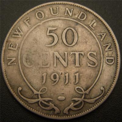 1911 50 Cents Newfoundland - Canada Fifty Cent - Full Ear and Partial Bands Show