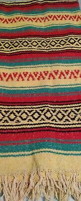Beautiful Vintage  Woven Blanket Appears To Be Native American 56 X 83 Inches