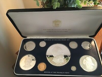 1975 Proof Set 9 Coins Republic of PANAMA Franklin Mint Silver 5.6856 ASW