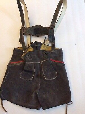 Vtg German Bavarian Lederhosen Shorts Child Suede Leather Suspenders Oktoberfest