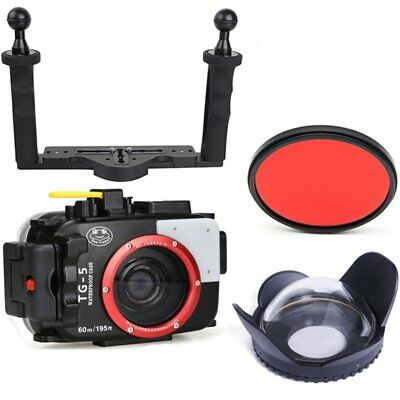 Seafrogs Waterproof Case + Fisheye Lens + Tray + 67mm Red Filter For Olympus TG5