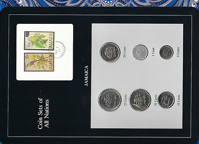 Coin Sets of All Nations Jamaica w/card 1975 UNC 25 cents KM48 Low Mint 10,000