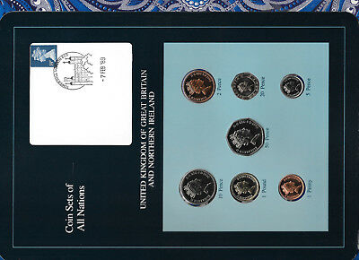 Coin Sets of All Nations Great Britain w/card UNC All 1990 but 20 Pence 1989