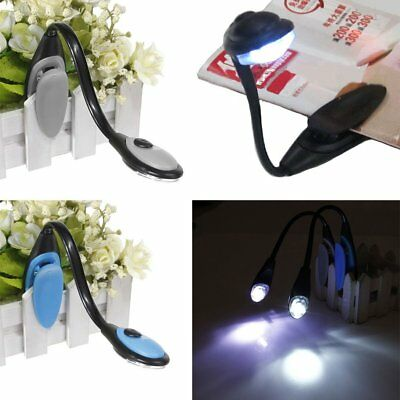 LED Flexible Clip On Torch Night Travel Kindle Portable Book Light Reading Lamp