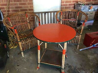 Antique Cane table And Chairs