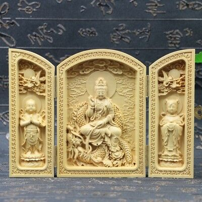 Chinese Boxwood Handmade Carved Three Dragon Kwan-yin Open Box SK28