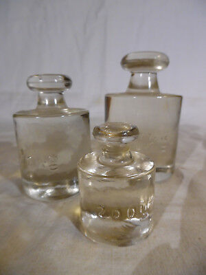 3 Antigue Glass Scale Weights