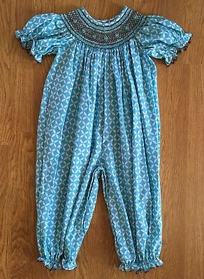 Stellybelly girls smocked romper sz 3T NEW w/o tags long bubble blue geometric