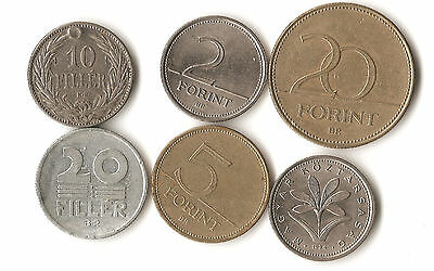 Six Hungary coins, 10 and 20 filler, 2, 5, and 20 forint, dated 1894- 1995