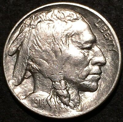 1914 buffalo nickel U.S. Mint Philadelphia #167 AU/BU+