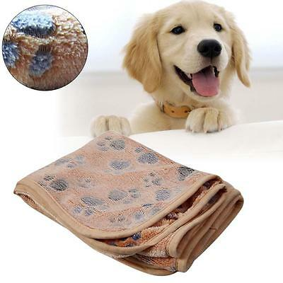 Pet Mat Paw Print Cat Dog Puppy Fleece Soft Blanket Cushion Brown 20 x 20cm EP