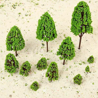 12pcs Plastic Green Model Trees Train Railway Scenery 2.5-16cm Scale 1:50-1:500