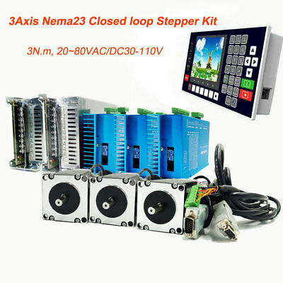 3Axis 3Nm Nema23 Stepper Motor Closed-loop Hybrid Servo Driver Kit+Controller