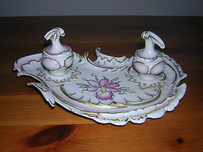 Very Pretty French Art Nouveau  Porcelain Double Inkwell Stand