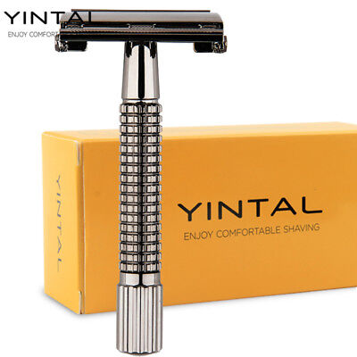 Classic Dual Edge Safety Razor Bass Chrome Grid Handle Shaver Butterfly Open