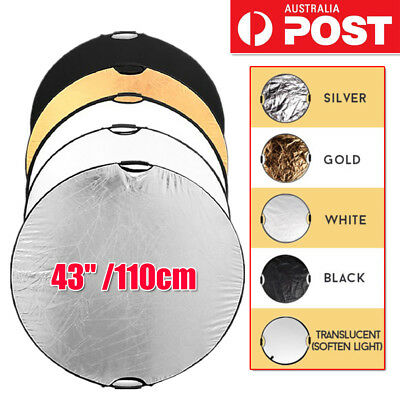 """5 in 1 Photography Photo Light Mulit Collapsible Disc Reflector Handle 43""""/110cm"""