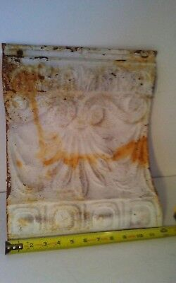 "12""x 14"" Antique Tin Ceiling Cornice  Architectural Salvage Shabby Chic Cuttoff"