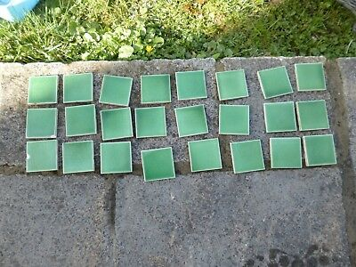 24 green vintage tiles, they came off an old wash stand each tile 7.5cm x 7.5cm
