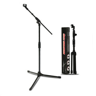 Premium Solid Tripod Boom Microphone Stand Mic Clip Collapsible Black
