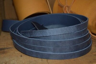 132cm LONG ANTIQUE LOOK NAVY BLUE 3mm cowhide LEATHER STRAP VARIOUS WIDTHS
