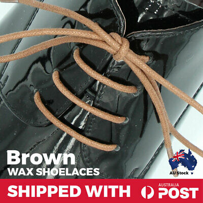 Wax Cotton Brown Thin Round Dress Shoelaces Work Boot Hiking Waxed Laces
