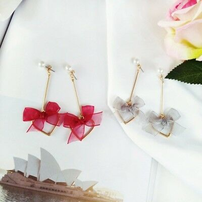 Chic Heart Shape Lace Bowknot Long Stud Tassel Hair Ball Earrings Jewelry New