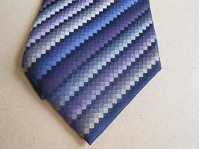 Van Heusen Square Diamond Purple Blue Gray Silk Stain Resistant Necktie 58""