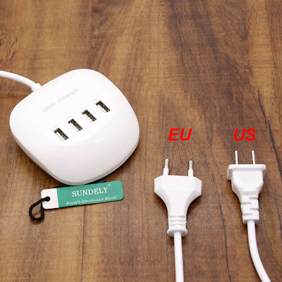 4 Multi Port USB HUB Phone Desktop Wall Charger Fast Charging Station Adapter