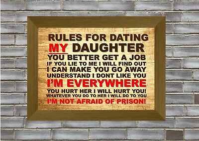 Rules For Dating My Daughter  Funny Print / Sign Gift (Father / Dad)