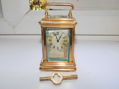 Vintage 8 Day Key Wind Miniature Gilt Brass & Painted Porcelain Carriage Clock