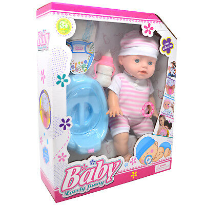 Baby Doll Drink & Wet With Potty Nappy Bottle Girls Gift Toy Realistic Fun New