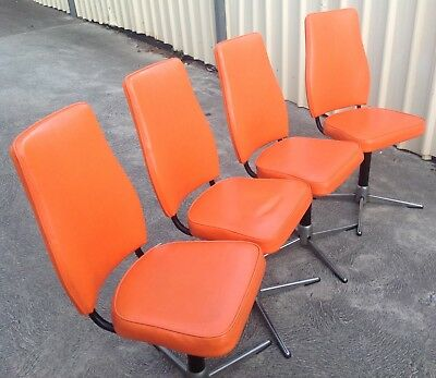 Namco Swivel Dining Chairs Brilliant Bright Orange Screaming Retro !!!