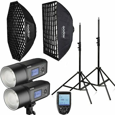 2Pcs Godox AD600Pro 600W TTL HSS 1/8000s Strobe Flash Softbox Trigger Stand Kit