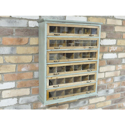 Contemporary Retro Industrial Wood Solid Wall Unit Pigeon Hole Dutch Blue Brown