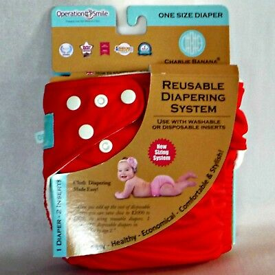 Charlie Banana Button Cloth Diaper Reusable 1 Diaper 2 Inserts Red Snap Nappy