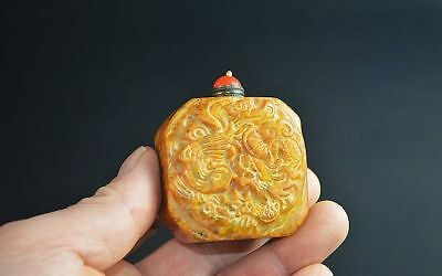 Handwork carved Chinese OLD jade snuff bottle  A52