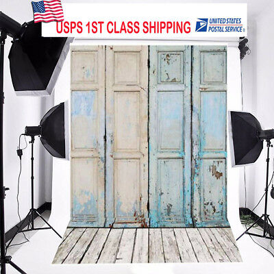 Light Blue Door 5x7Ft Photography Backdrops Cloth Vinyl Photography Studio Props