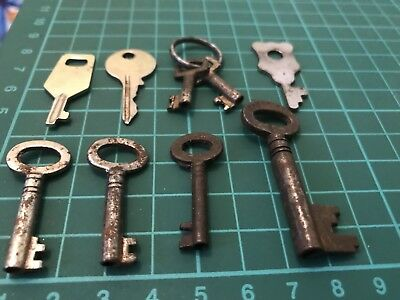 Old Keys x9 strong box cabinet desk padlock locker Collectable,Victorian