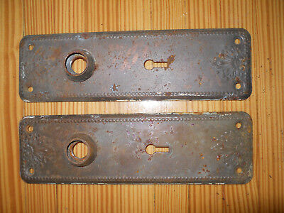 set of 2 antique Victorian door knob backplate escutcheons with ornate floral