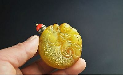 Handwork carved Chinese OLD jade snuff bottle  A54