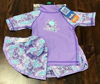 Nwt Uv Skinz Girls 3 Piece Swim Suit Shorts Set - Purple - Size 18 Months