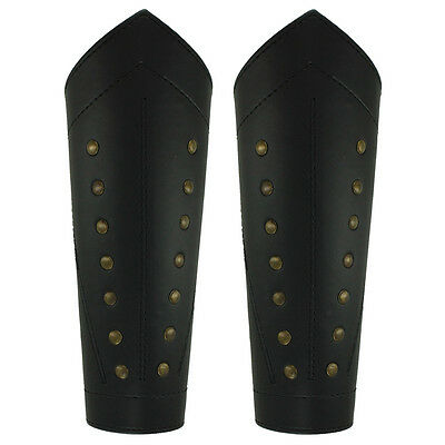 Ranger Thief Sable Black Studded Gothic Leather Light Armor Laced Leg Greaves