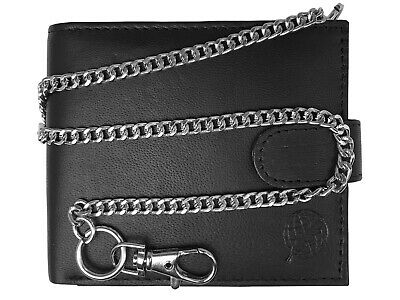 RFID BLOCKING Chained Mens Mans Leather Wallet Credit Card Wallets Belt Chain 06