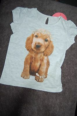 M&S Short Sleeved T Shirt Grey Marl With Puppy on Front Age 12-18 Months BNWT