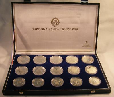 1984 Yugoslovia 15 Coin Sterling Silver Sarajevo Winter Olympics Proof Coins Set