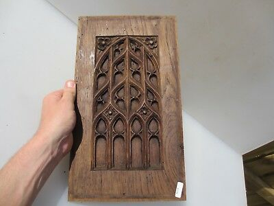 Georgian Carved Wooden Panel Plaque Door Antique Gothic Window Arch Old 18thC